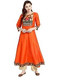 Janasya Women's Orange Poly Silk Anarkali Digital Print Kurta