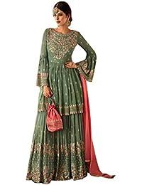 0bf1948a16 Muslim Heavy Garara Sharara Ramzan Green Salwar Kameez Suit 7705
