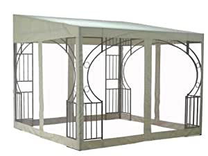 santiago metal wall gazebo mit fliegengitter 3m x 3m k che haushalt. Black Bedroom Furniture Sets. Home Design Ideas