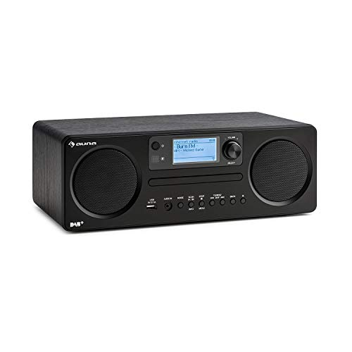 auna Worldwide CD • Internetradio mit Bluetooth • DAB/DAB+ Radio • MP3-fähiger USB-Port • mit CD-Player • Spotify Connect • AUX • App Control • Timer • schwarz
