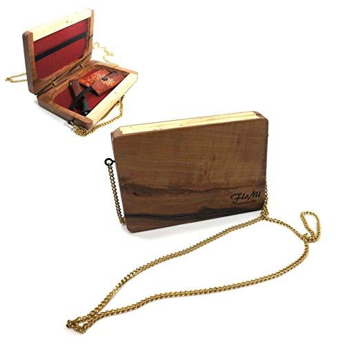 Echtholz-Handtasche mit Magnetverschluss