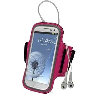 igadgitz Pink Rosa Reflektierende Anti-Rutsch Neoprene Sports Fitnesszentrum Jogging Armband Tasche Oberarmtasche Schutz Hülle Etui Case für Samsung Galaxy S3 III i9300 Android Smartphone Handy