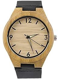 LasVogos Reloj de Cuarzo con Esfera de Madera Vintage Relojes Hombres Mujeres Pareja Reloj Blanco Puntero