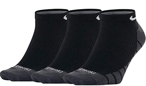 Nike U NK Everyday MAX LTWT NS 3PR Socks, Black/Anthracite/White, L (Nike Elite Socks Pack)
