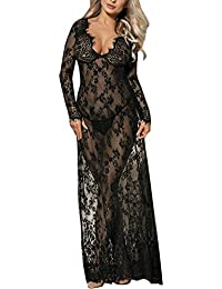 f86366ab8e3 LAEMILIA Robe Maxi Femme Enceinte Bikini Cover UpDentelle Col-V Manche  Longue Photographie Robe Longue