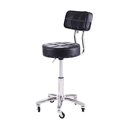 Schwenk-chrom-basis (rfiver Modern PU Leder Relief Hydraulische Verstellbare Drehgelenk Ausarbeitung Hocker Stuhl für Salon Spa Massage Küche Büro Shop Club Bar in schwarz SC1003–1)