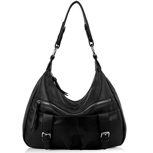 Yaluxe Damen viele Fächer weich Hobo Stil Rindsleder Leder Purse Schultertasche schwarz (Handtaschen Hobo-stil)