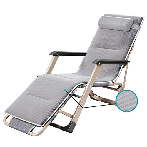 AI LI WEI Home Outdoor/Außen Folding Lehnstuhl Garten-Patio-Stuhl Sonnenliege Zero Gravity Chair mit Kissen Outdoor-Strand-Stuhl Folding Unterstützt 200kg Leichte Camping-Stuhl (Color : Gray) -