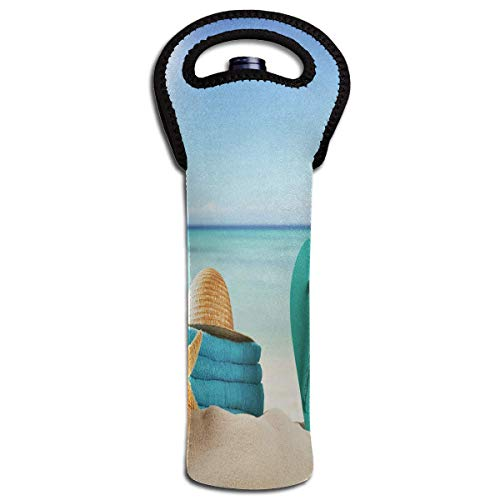Wine Bag Summer Vacation Beach Sea Starfish Holiday Sand Shale Hat Towel Shells 1 Bottle Red Wine Tote Bag Protective Single Champagne Handle Bag Design15 -