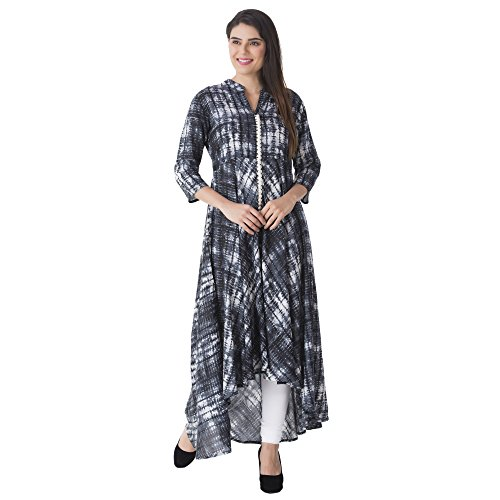 Khushal Women Rayon Kurta(Kk-15-Rayon_Hemline--Black-S_Black_Small)