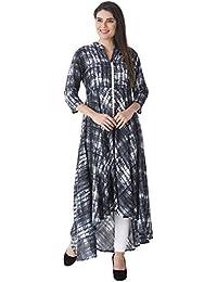 Khushal Rayon Printed Long Lenght Up & Down Hemline Designer Dress , Kurta/Kurti For Women's/Girls'/Bride BEST...