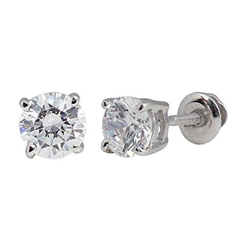 1/2 CT Total Weight Diamond Stud Earrings SCREWBACKS 14K Gold