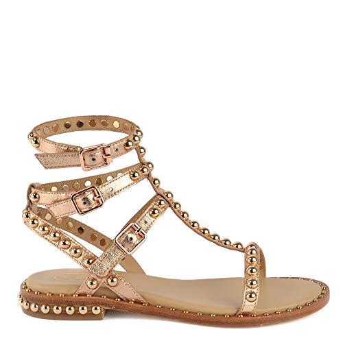 Ash Footwear Play Rame Sandali Piatti, Sandali in Pelle Rosa, Sandali con Borchie Dorate, Sandali per Donna 38 Rame