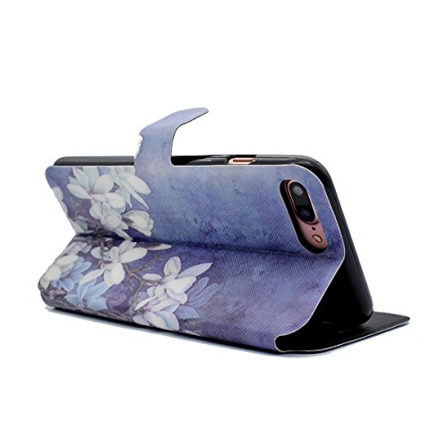 Custodia iPhone 7 Plus,iPhone 7 Plus Custodia in pelle,Felfy Belle Colorato Dipinto Elegante Lusso Rigida Fantasia Design Stand Flip PU pelle Portafoglio/Wallet Cuoio/Libro Bookstyle Leather Case per  Fiori