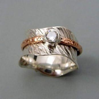 Geschenk für Weihnachten 925 Sterling Silber Spinner Ring, Two Tone Edelstein Ring, Texturen Ring, Vintage Ring, Daumenring