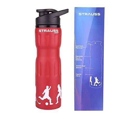 Strauss Stainless-Steel Water Bottle, 750ml (Red)