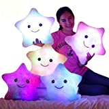 #1: 34CM Creative Toy Luminous Pillow Soft Stuffed Plush Glowing Colorful Stars Cushion Led Light Toys Gift for Kids Children Girls