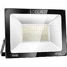 SOLLA Foco Proyector LED 150W para exteriores, Blanco Cálido 3000K, 12000LM, Impermeable IP66, luz amplia, luz de seguridad
