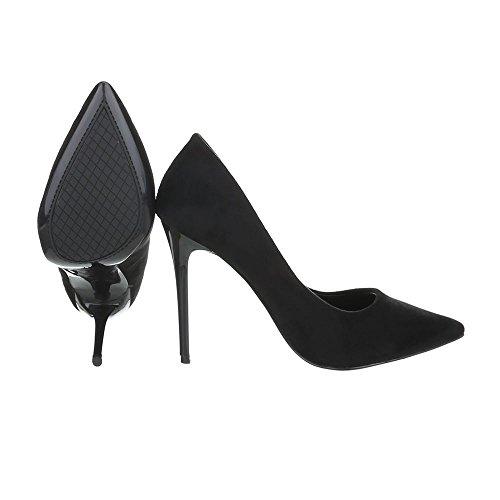 Ital-Design Scarpe da Donna Scarpe Col Tacco Tacco a Spillo Scarpe con Tacco Alto Nero