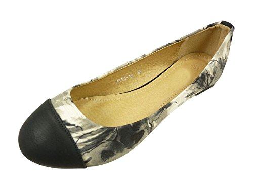Ballerines en tissu fleurs, chaussures femmes plates Noir