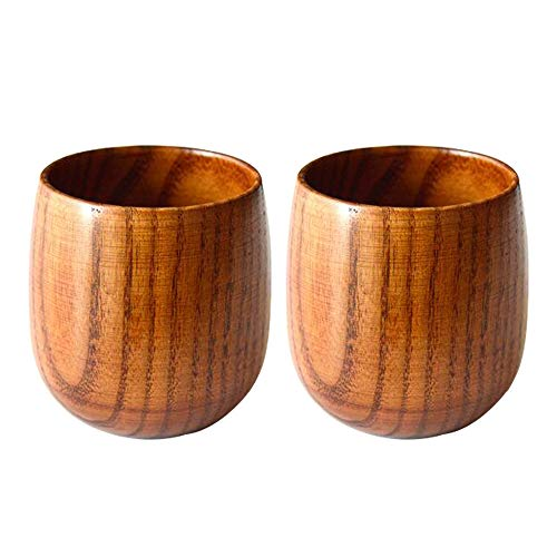 Tee-becher-set (Amaoma 2Pcs Natürliche Holztasse Jujube Holzbecher Becher Hölzerner Tee Set, Holz Tasse)