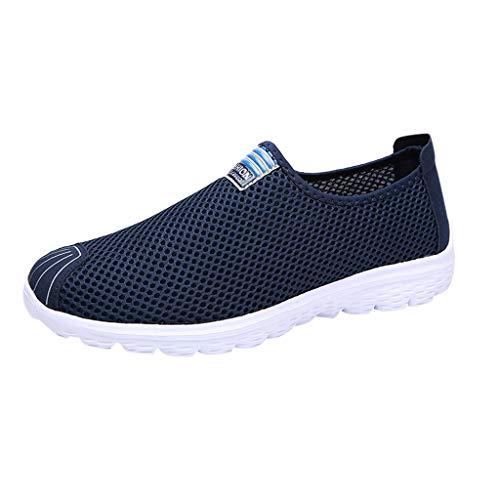 Xmiral Mesh Sneakers Atmungsaktiv Damen Einfarbig Gummisohle Laufschuhe Sportschuhe Rutschfest Barfuß Bootsschuhe Wasserschuhe Badesandale(Blau,35 EU)