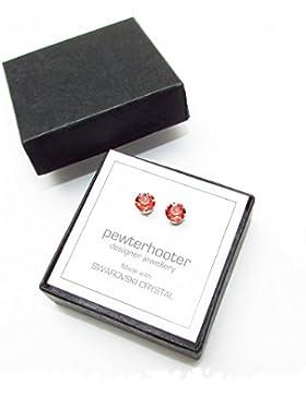 925-Sterling Silber Ohrstecker handgefertigt mit funkelnden Padparadscha Kristall aus SWAROVSKI®.