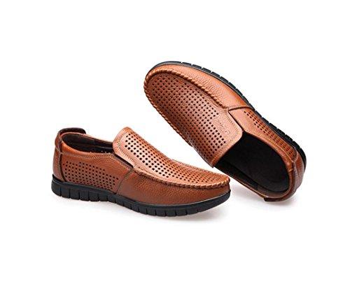 HYLM I pattini casuali di cuoio dei sandali degli uomini di estate nuovi calza i pattini respirabili del piede dei pattini del piede Yellow