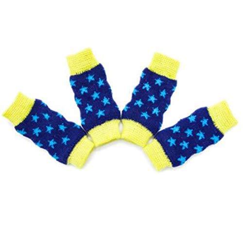 FeiyUan Fein Handwerkskunst Haustier Knie Polster Haustier Warm Atmungsaktiv Bein Socken für Schutz Gelenk Hund Knie Schutz Socken in Fein Stil - M Blau, M -