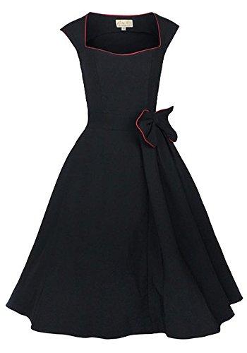 Dot Polka Dress Kostüm 50's - shoperama 50er Jahre Kleid Schwarz mit rotem Saum Baumwolle Vintage 50's Retro Fifties Petticoat, Schwarz/Rot, S