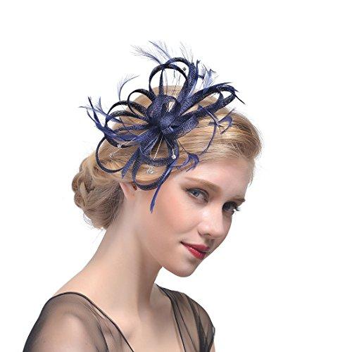 ZYCC Pince à Cheveux Feather Fleur Chapeau Fascinator Cocktail Chapeau Fête De Mariage Bleu Marin