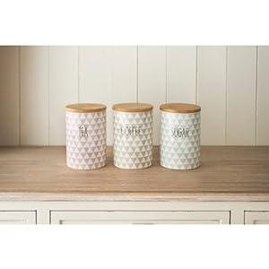 Stylish Diamonds Tea Coffee Sugar Canisters 3 Ceramic Jar Set Retro Air Tight pajee TM