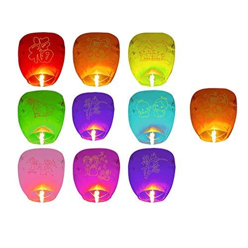 Guve 10er Pack Himmelslaternen - 100% biologisch abbaubare chinesische Laternen für Hochzeiten, Geburtstage und Gedenkstätten,(H*W*D) 85 * 45 * 32cm (Laternen Für Hochzeiten Kleine)