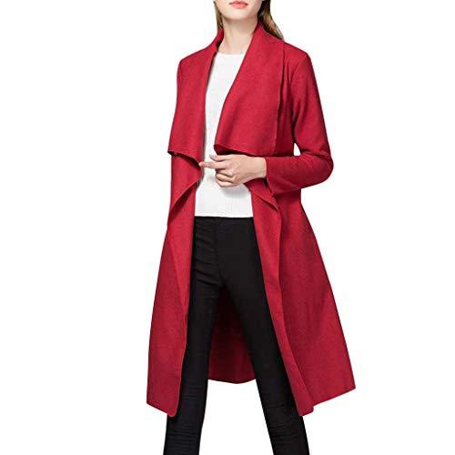 TOPGKD Mantel Damen Langarm Unregelmäßig Einfarbig Jacke Strickjacke Gürtel Herbst Winter Warme Lange Slim fit Jacken Mantel Outwear (Rot, XL)