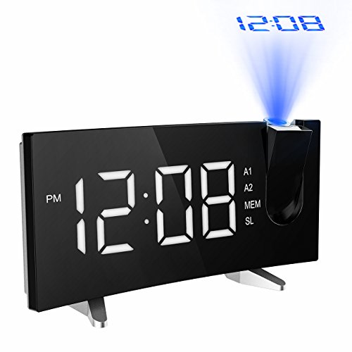 Projektionswecker, PICTEK FM Radiowecker 5\'\' große LED-Anzeige digitaler Wecker Uhr Uhrenradio Lichtwecker mit 180° Flip-Projektionsanzeige Projektion, Snooze, Dual-Alarm, USB-Ladeanschluss usw - Weiß