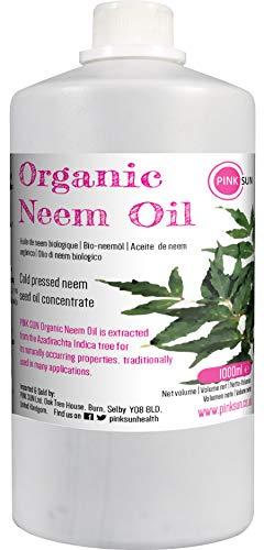 PINK SUN Neemöl Bio Kaltgepresst Pur 1 Liter (oder 250ml) Neem Öl für Pflanzen Insekten Hunde Pferde Haare und Haut Rein Nicht Raffiniert Konzentrat Pure Organic Neem Oil litre 1L 1000ml