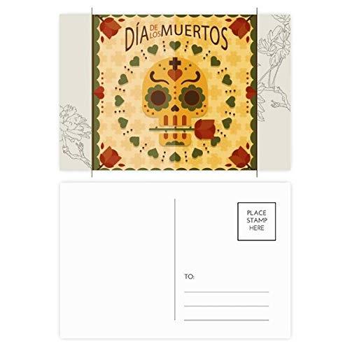 Rose Der Tag der toten Mexiko-Blumen-Postkarte Set dankt Karte Mailing Side 20pcs 5.7 Zoll x 3.8 Zoll Mehrfarbig ()