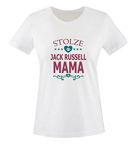 Comedy Shirts - Stolze Jack Russell Mama - Herz - Damen T-Shirt - Weiss/Fuchsia-Türkis Gr. XS