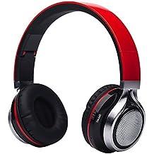Aita BT816 Auriculares Bluetooth de Diadema Plegable, Cascos Estéreo con LED light, FM Radio TF card, Construido en llamadas Inalámbricas Micrófono de Manos Libres para iPhone PC Mac TV (Rojo)