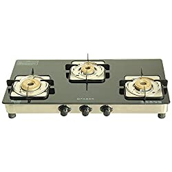 Faber Supreme Plus Glass 3 Burner Cooktop, Black (106.0534.543)