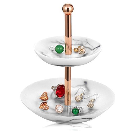 Jewelry Tower Stand Gold Metal- Bracelet & Necklace Jewelry Organizer Display Tree Rack w/Ring Tray (White) Metal Tray