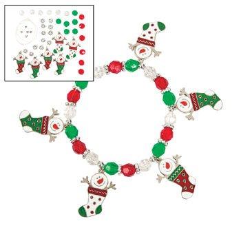 Schneemann Weihnachtsstrumpf Charm Armband Craft Kit-Basteln für Kinder & Schmuck Crafts -