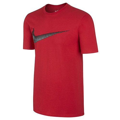 Nike Herren M NSW Tee HANGTAG Swoosh Kurzarm-trainingsshirt, Universität Rot/Anthrazit Grau, M - Nike-athletic-t-shirt