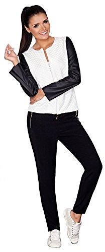 Capri Moda – Damen Reißverschluss Jacke Gesteppt Design Kunstlederärmeln – A110 - 2