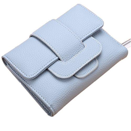 Coin borsa-All4you Solid PU in pelle Trifold Portafoglio Portacarte per donne signore con chiusura HASP Strap (rosa) Blu