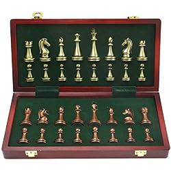 Piezas de ajedrez de Bronce y latón Brillante de Metal Tablero de ajedrez Plegable de Madera sólida Juego de ajedrez Profesional de Alto Grado