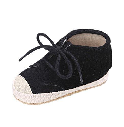 Chaussures de bébé Auxma Chaussures de toile pour bébé Chaussures de première waliking avec semelle souple Pour 3-18 mois (13cm/12-18 M, blanc) Noir