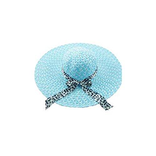 Chapeau de Paille Surker femmes Plage d'¨¦t¨¦ Chapeaux Grandes larges bords Caps Sun Bleu