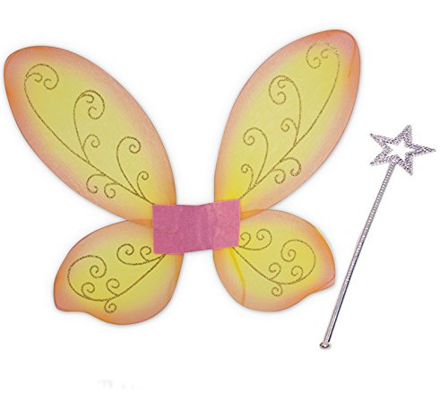 KarnevalsTeufel Elfen-Set, Gold oder Silber Stab mit Flügel orange,Feen-Flügen, Zauber, zauberhaft, Märchen, märchenhaft, Elfe ()
