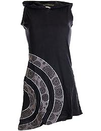 Vishes - Alternative Bekleidung – Ärmelloses Minikleid aus Baumwolle mit Zipfelkapuze und konzentrischen Kreisen